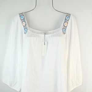 Lucky Brand Women's White Embroidered Peasant Top